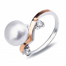 """Серебряное кольцо""""Даная"""" с золотом, жемчугом и фианитами"""