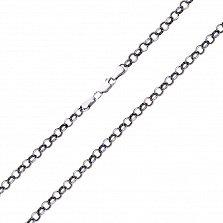Серебряная цепь Оклахома в плетении ролло с чернением