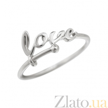 Кольцо из белого золота Love  000081325