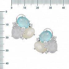 Серебряные серьги Пруденс с фианитами, голубым, белым и розовым халцедоном