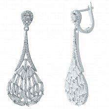 Серебряные серьги-подвески Амалия с фианитами