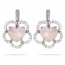 Серебряные серьги Сердце цветка с розовым кварцем и фианитами
