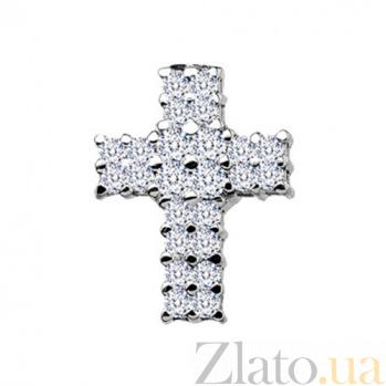 Золотой крестик с бриллиантами Ясмин KBL--П057/бел/брил