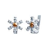 Серебряные серьги Элисон с золотом и фианитами
