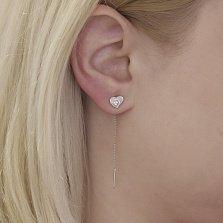 Серебряные серьги-протяжки Сердечки с белыми фианитами
