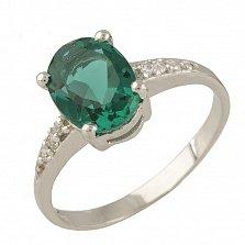 Серебряное кольцо Жильберта с синтезированным изумрудом и фианитами