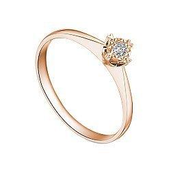 Золотое помолвочное кольцо в красном цвете с насечкой вокруг бриллианта 0,07ct 000070600