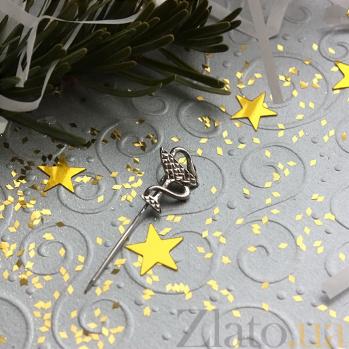 Серебряная булавка родированная Мудрость  LEL--09212