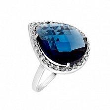 Серебряное кольцо Сласть с ювелирным стеклом цвета сапфир и цирконием