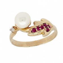 Золотое кольцо с бриллиантом, рубинами и жемчугом Заряница