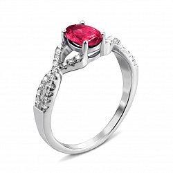 Серебряное кольцо с рубином и фианитами 000135105