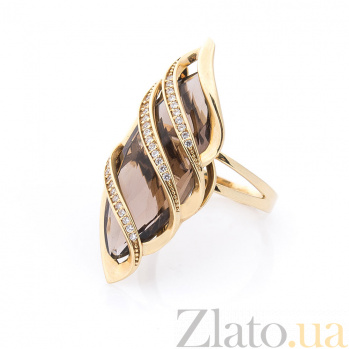 Золотое кольцо Каприз Дездемоны в красном цвете с раухтопазом и белыми фианитами 000082302
