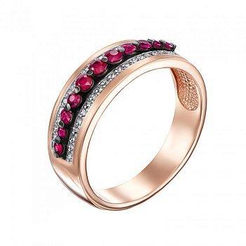 Кольцо в красном золоте с рубинами и бриллиантами 000117659