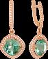 Золотые серьги-подвески Фабьен с синтезированными аметистами и фианитами VLN--113-1466-55