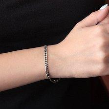 Серебряный браслет чернёный Панцирь, 4 мм