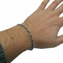 Серебряный мужской браслет Якорь, 7мм