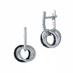 Серебряные серьги-подвески Эйлен с черными и белыми фианитами