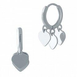 Серебряные серьги-колечки Гульнара с тремя сердечками
