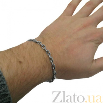 Серебряный мужской браслет Якорь, 6мм 000024283