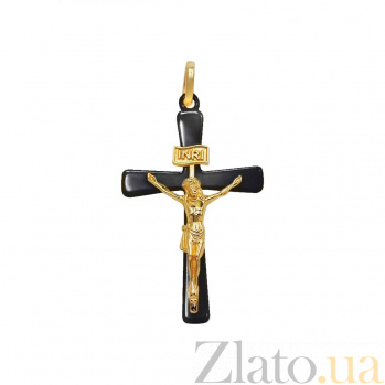 Крестик из желтого золота и черной керамики Вечная жизнь 000081390