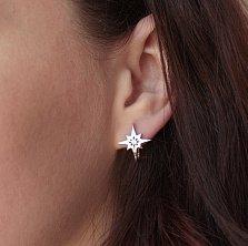 Серебряные серьги Полярная звезда с фианитами в центре