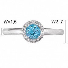 Кольцо из белого золота Сабрина с топазом и бриллиантами