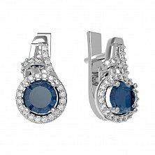 Серебряное серьги Кириана с голубым кварцем и белыми фианитами