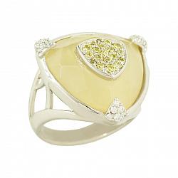 Серебряное кольцо с кальцитом и раухтопазом Эдита 000016684