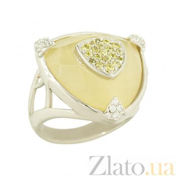 Серебряное кольцо с кальцитом и раухтопазом Эдита 3К107-0057