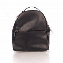 Кожаный рюкзак Genuine Leather 8988 черного цвета с карманом на молнии