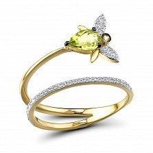 Кольцо из желтого золота Кира с бриллиантами и хризолитами