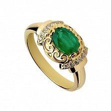 Золотое кольцо Императрица с изумрудом и бриллиантами