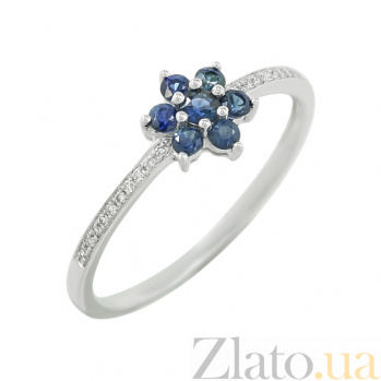 Золотое кольцо с сапфирами и бриллиантами Иветта 1К551-0153