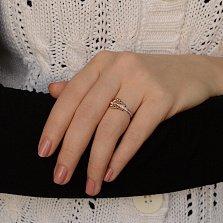 Кольцо из красного золота Гитара с фианитами