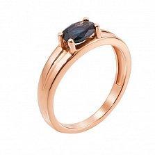 Золотое кольцо Сатин в красном цвете с сапфиром