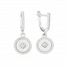 Серебряные серьги-подвески Оригон с дорожками фианитов и белой керамикой