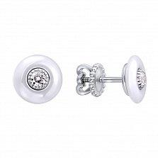 Серебряные серьги-пуссеты Иления с белой керамикой и фианитами