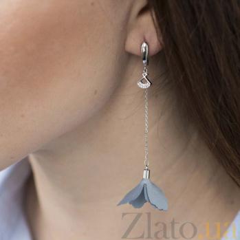Серебряные серьги-подвески Цветана с голубым текстилем и фианитами 000080206