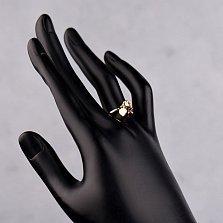 Кольцо из красного золота Девочка с подвеской-сердечком и красными фианитами