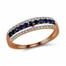 Кольцо из красного золота с сапфирами и бриллиантами Акулина