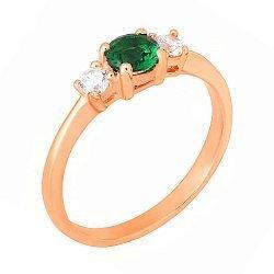 Позолоченное кольцо из серебра с фианитами 000028213