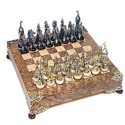 Дизайнерские серебряные шахматы с яшмой, цветной эмалью и позолотой 000004363