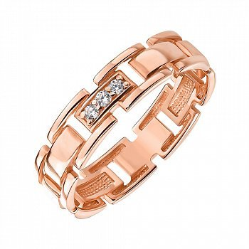 Обручальное кольцо из красного золота с фианитами 000143842
