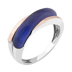 Серебряное родированное кольцо с золотыми накладками и темно-синим улекситом 000118680