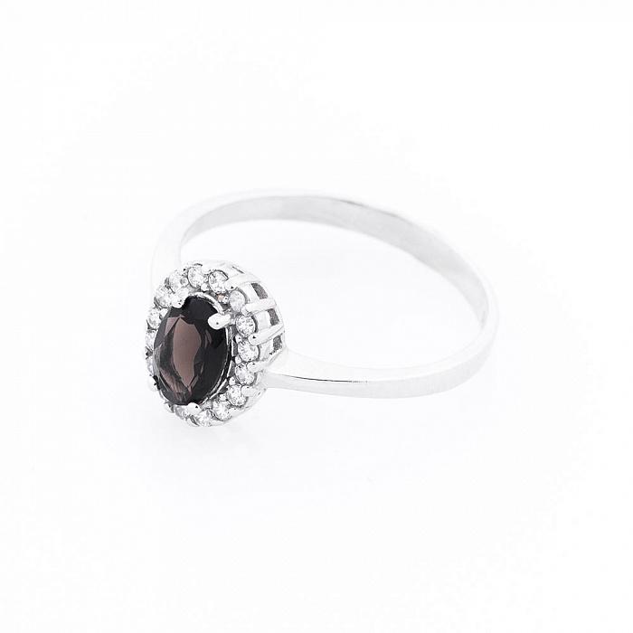 Серебряное кольцо Беттина с раухтопазом и фианитами 000080121