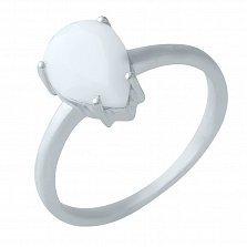 Серебряное кольцо Снежный хлопок с агатом