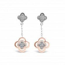 Серебряные серьги-подвески Розалин с золотыми накладками и фианитами