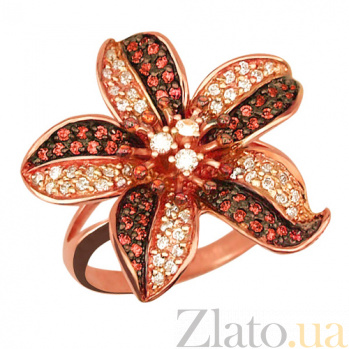 Кольцо из красного золота Эдельвейс с фианитами VLT--ТТ1019-2
