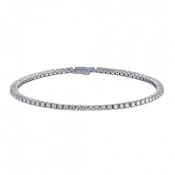 Теннисный браслет из белого золота с бриллиантами 1,66ct 000145339