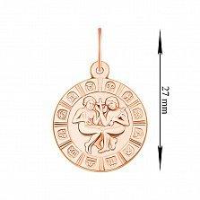 Кулон из красного золота Знак зодиака Близнецы 000134146